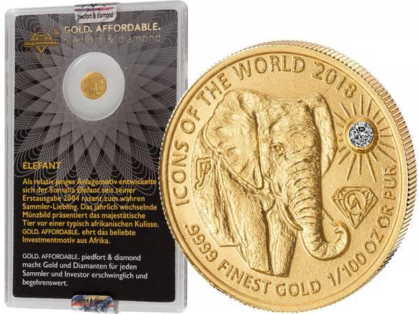10 Francs Ruanda Gold Affordable Diamond Edition Elefant 2018