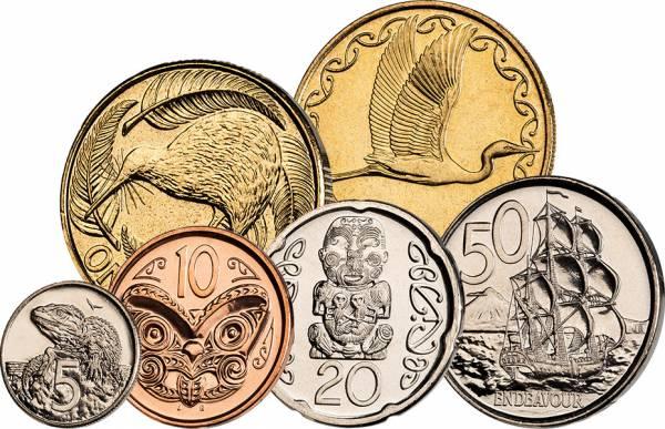 5 Cents - 2 Dollars Kursmünzensatz Neuseeland 1999-2014