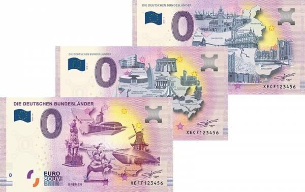3er-Set 0-Euro-Banknoten Die deutschen Bundesländer - Stadtstaaten Berlin/Bremen/Hamburg 2020-2021