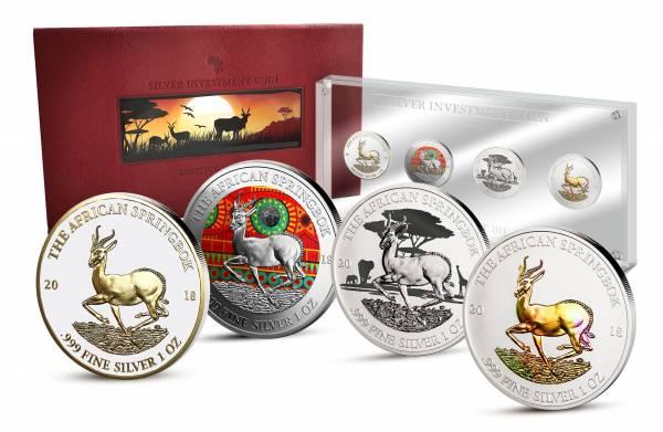 Silver Investment Coin Prestige-Set Springbock 2018 -FOTOMUSTER