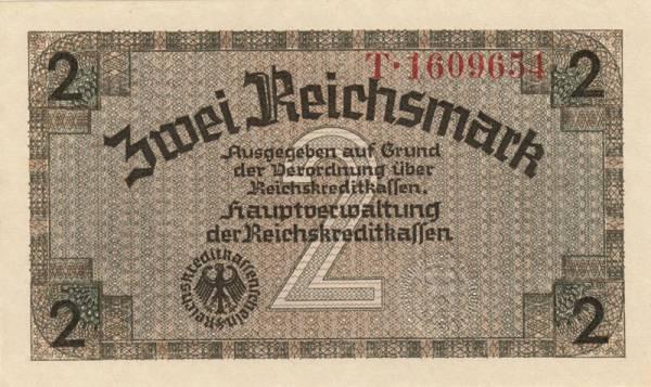 2 Mark Drittes Reich Reichskreditkassenschein 1939-1944