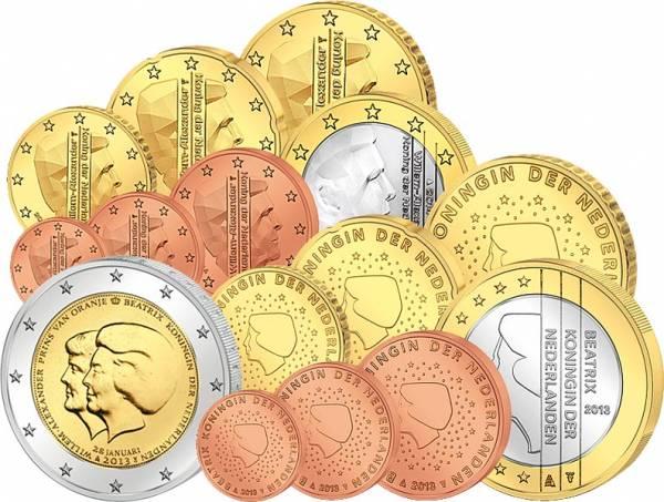 2 x 1 Cent - 1 Euro Kursmünzen Niederlande 2013/2014 inkl. 2 Euro Gedenkmünze Thronwechsel 2013