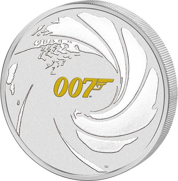 1 Unze Silber Tuvalu James Bond 2021 mit Gold-Applikation