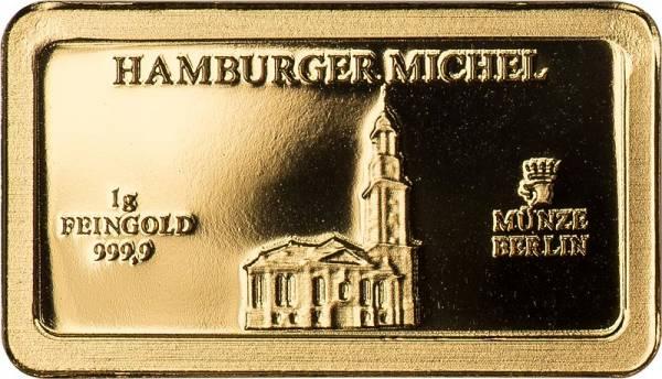 1 Gramm Goldbarren Deutsche Wahrzeichen Hamburger Michel