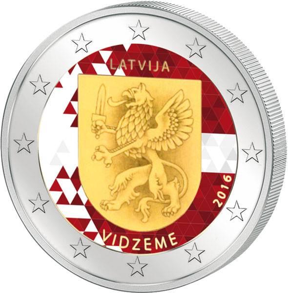 2 Euro Lettland Region Vidzeme 2016 mit Farb-Applikation