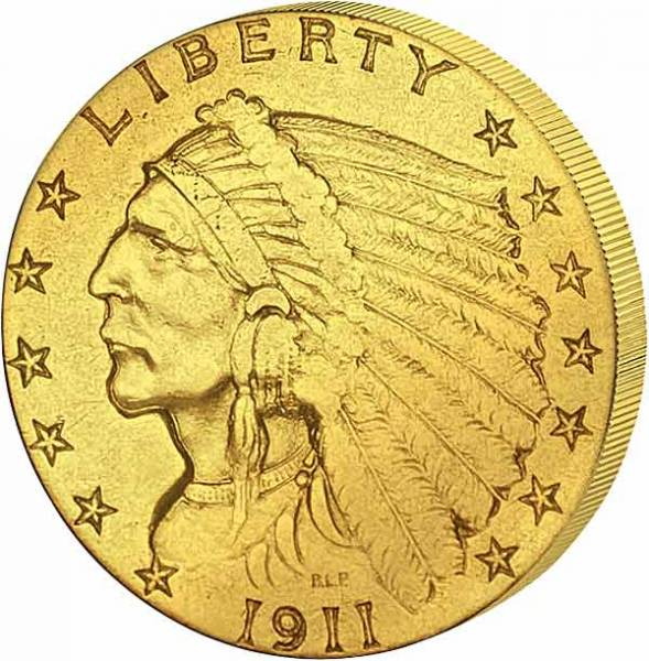 2 1/2 Dollars USA Indian Chief 1908-1929 ss-vz
