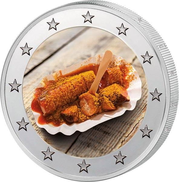 2 Euro BRD mit Farb-Applikation 70 Jahre Currywurst 2019