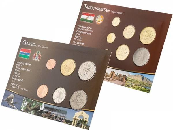 Premium-Kursmünzen-Set Tadschikistan und Gambia