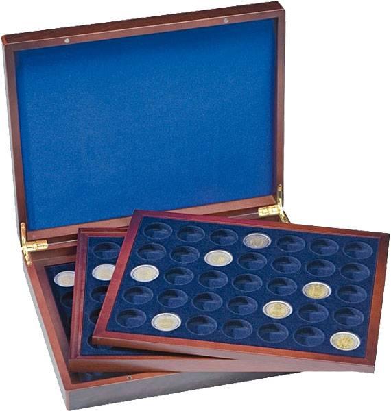 Holz-Münzkassette für 3x 35 2-Euro Münzen in Kapseln