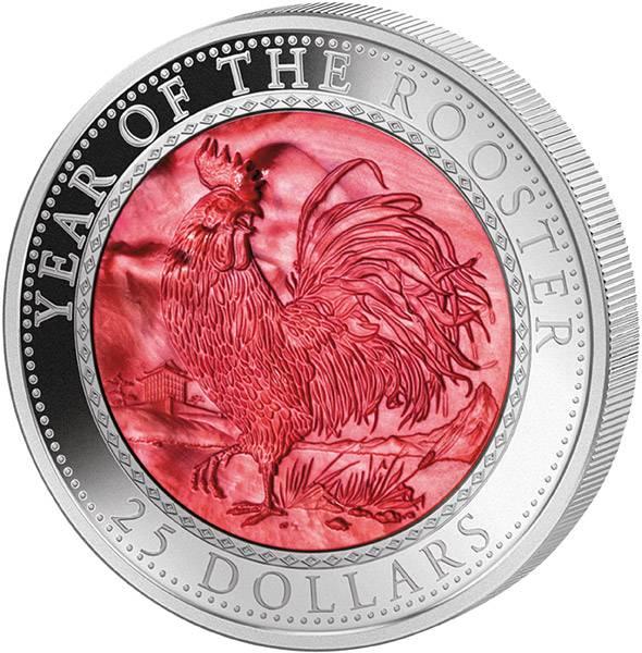 25 Dollars Cook-Inseln Perlmutt-Reliefmünze Jahr des Hahns