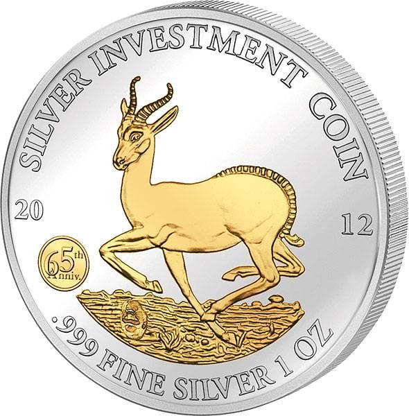 1 Unze Gabun 65 Jahre Springbock 2012 mit Gold-Applikation Stempelglanz