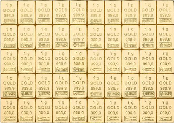 50 x 1 Gramm Goldbarren Knickbarren