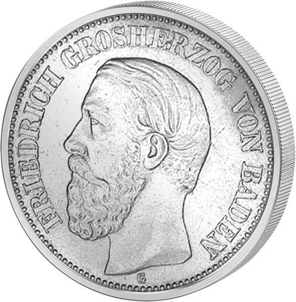 2 Mark Silber Baden Großherzog Friedrich I. 1892-1902 Sehr schön