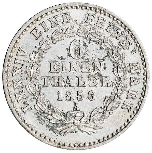 1/6 Taler Anhalt-Bernburg Herzog Alexander Carl 1856