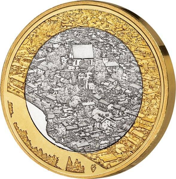 5 Euro Finnland Fluss Porvoonjoki und Altstadt Porvoo 2018