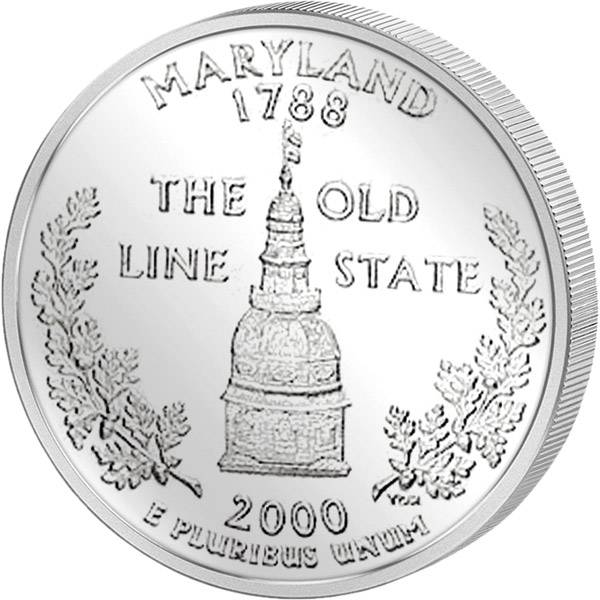 Quarter Dollar USA Maryland 2000