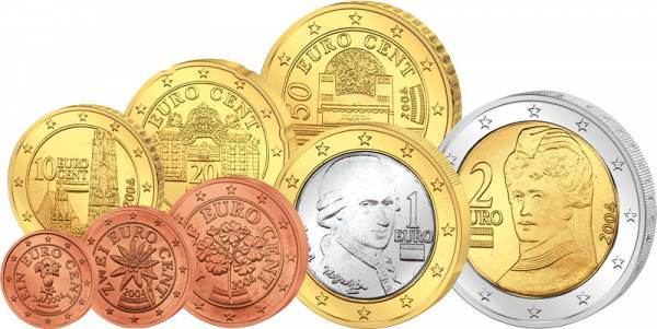 1 Cent-2 Euro Kursmünzensatz Österreich div. Jahre prägefrisch