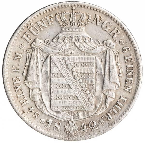 1/6 Taler Königreich Sachsen König Friedrich August II. 1841-1852