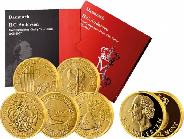 5 x 10 Kronen Dänemark Märchen-Satz Hans Christian Andersen 2005-2007