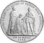 Taler Geschichtsdoppeltaler Ludwig I 1848  vorzüglich