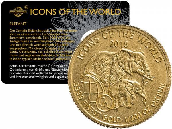 1/200 Unze Gold Ruanda Elefant 2018