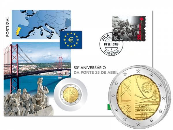 2 Euro Numisbrief Portugal 50 Jahre Brücke des 25. April