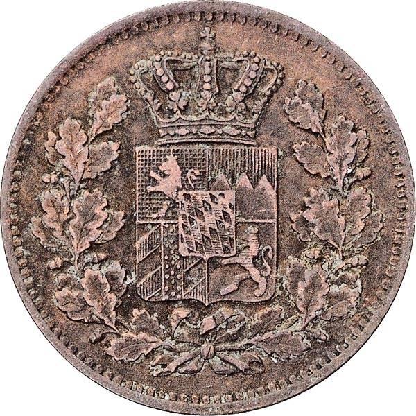 2 Pfennige Bayern König Ludwig II. 1865 - 1871