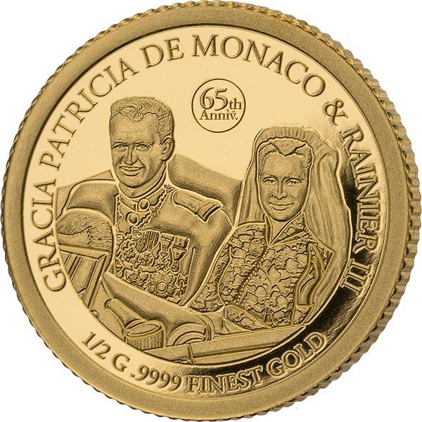1.000 Francs Guinea 65. Hochzeitstag Grace Kelly & Fürst Rainier Gold Coin Card 2021