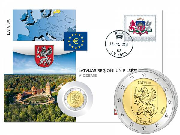 2 Euro Numisbrief Lettland Region Vidzeme