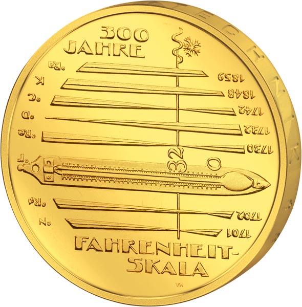10 Euro Brd 300 Jahre Fahrenheit Skala 2014 Vollvergoldet 10 Euro