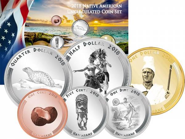 1 Cent - 1 Dollar USA Kursmünzen der Hawaiianer 2018