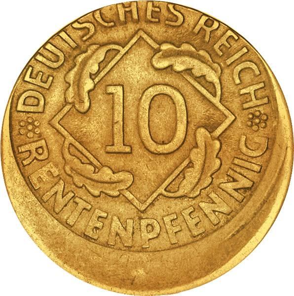 10 Pfennig 1923-1936 Reichs oder Rentenpfennig J.309 oder 317 1923-1936 ss-vz