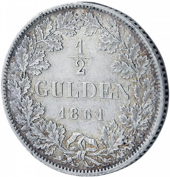 1/2 Gulden Baden Großherzog Friedrich I.