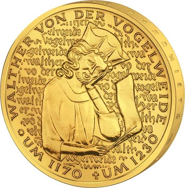 5 DM BRD Walther von der Vogelweide 1980 vollvergoldet