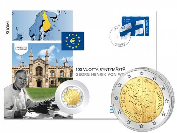 2 Euro Numisbrief Finnland 100. Geburtstag Georg Henrik von Wright 2016