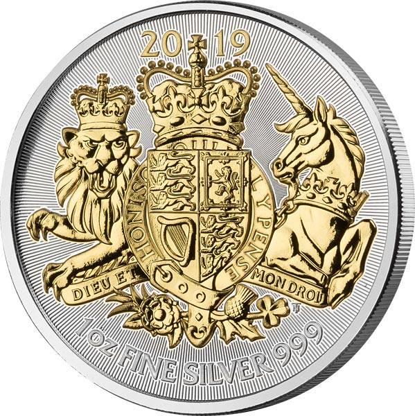 1 Unze Silber Großbritannien Royal Arms 2019 mit Goldapplikation