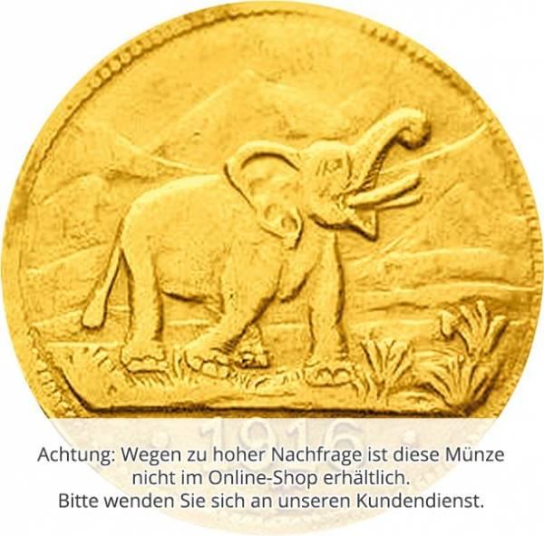 15 Rupien Elefant mit erhobenem Rüssel 1916