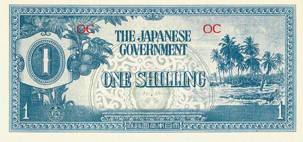 1 Shilling Ozeanien Banknote Japanische Besatzung 2. Weltkrieg 1942 kassenfrisch