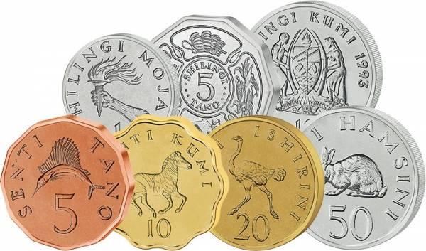 1-50 Senti + 1-10 Shiling Kursmünzen Tansania 1966-1993