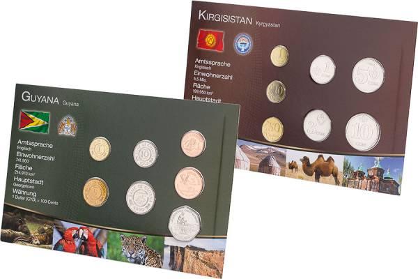 Kursmünzen-Set Kirgisistan und Guyana