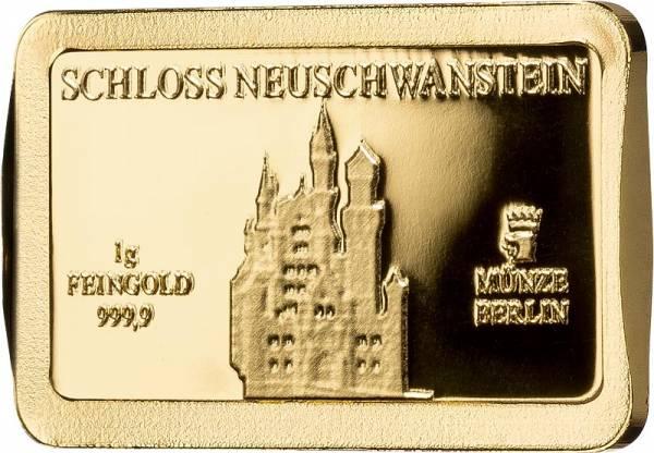 1 Gramm Goldbarren Deutsche Wahrzeichen Neuschwanstein - FOTOMUSTER
