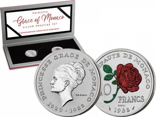 2 x 10 Francs Monaco Silver Prestige Set - Gracia Patricia 1982