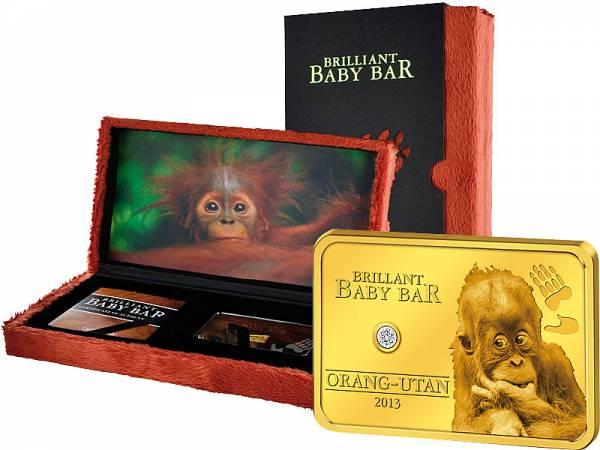 5 Dollars Niue Brilliant Baby Bar Orang Utan 2013 - FOTOMUSTER