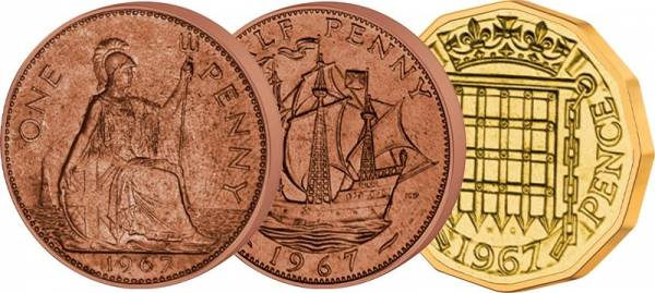 1/2 Penny + 1 und 3 Pence Großbritannien 1954 - 1970