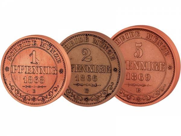 1 + 2 + 5 Pfennig Sachsen König Johann 1862-1873