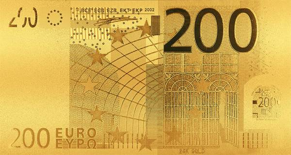 200 Euro BRD Goldfolien-Banknote