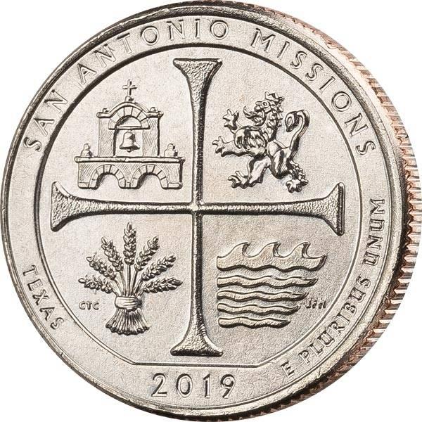 Quarter Dollar 25 Cents USA Texas San Antonio National Historical Park 2019