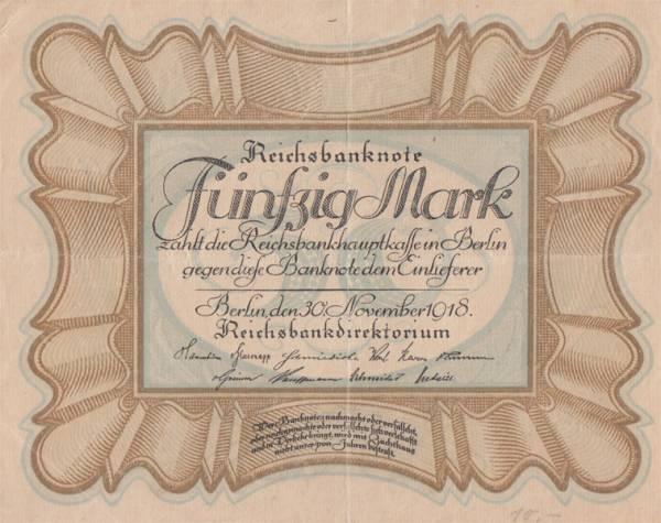 50 Mark Deutschland Reichsbanknote 1918