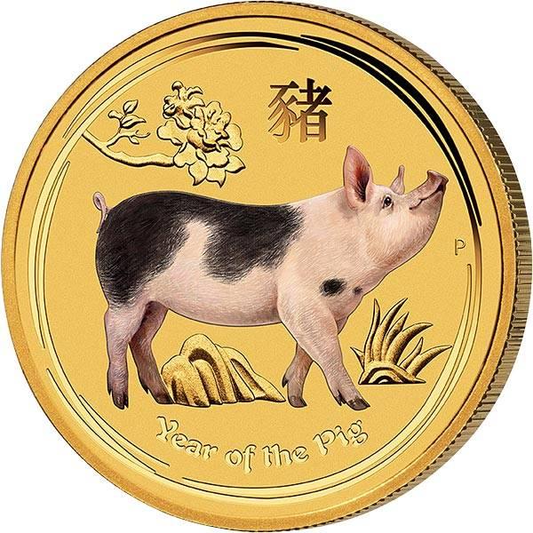 1/20 Unze Gold Australien Jahr des Schweins 2019 mit Farb-Applikation