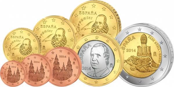 1 Cent - 1 Euro Kursmünzen Spanien 2014 inklusive 2-Euro-Gedenkmünze